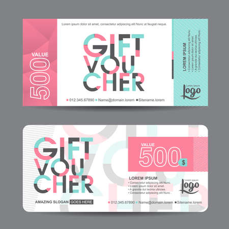 Gift voucher template with colorful pattern,cute gift voucher