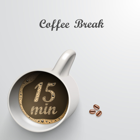Cup with a time of 15 minutes break art Royalty-free vector graphics