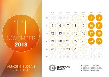 November 2018 Desk Calendar for 2018 Year Vector Design Print