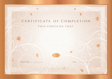 Certificate of completion, Diploma design template, background with