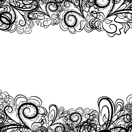 Abstract black border like as lace against the white background