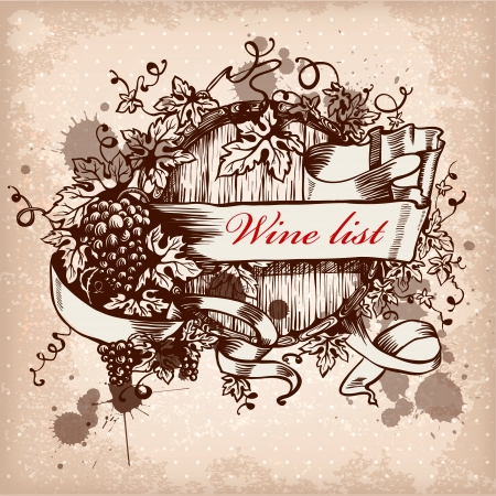 Wine label design with grapes and keg Royalty-free vector graphics