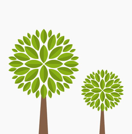 Two family trees Vector illustration on white background Royalty