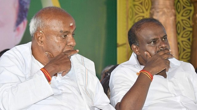 Image result for Kumara Swamy Gowda Unhappy