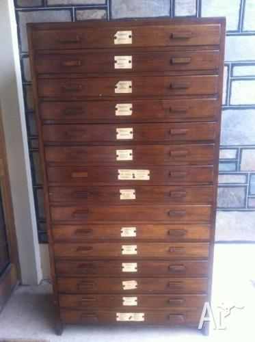 Antique Large Plan Drawers Chest Specimen Drawers Vintage Retro for