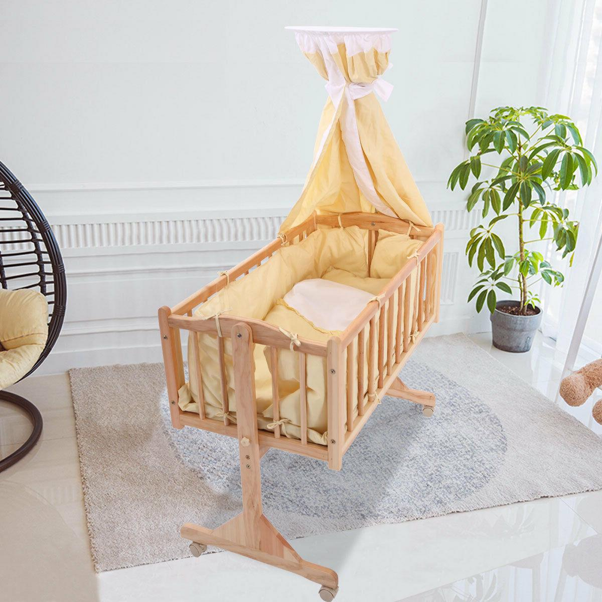 Baby Cradle Dimensions Wood Baby Cradle Rocking Bassinet Bed Sleeper Born Portable Nursery