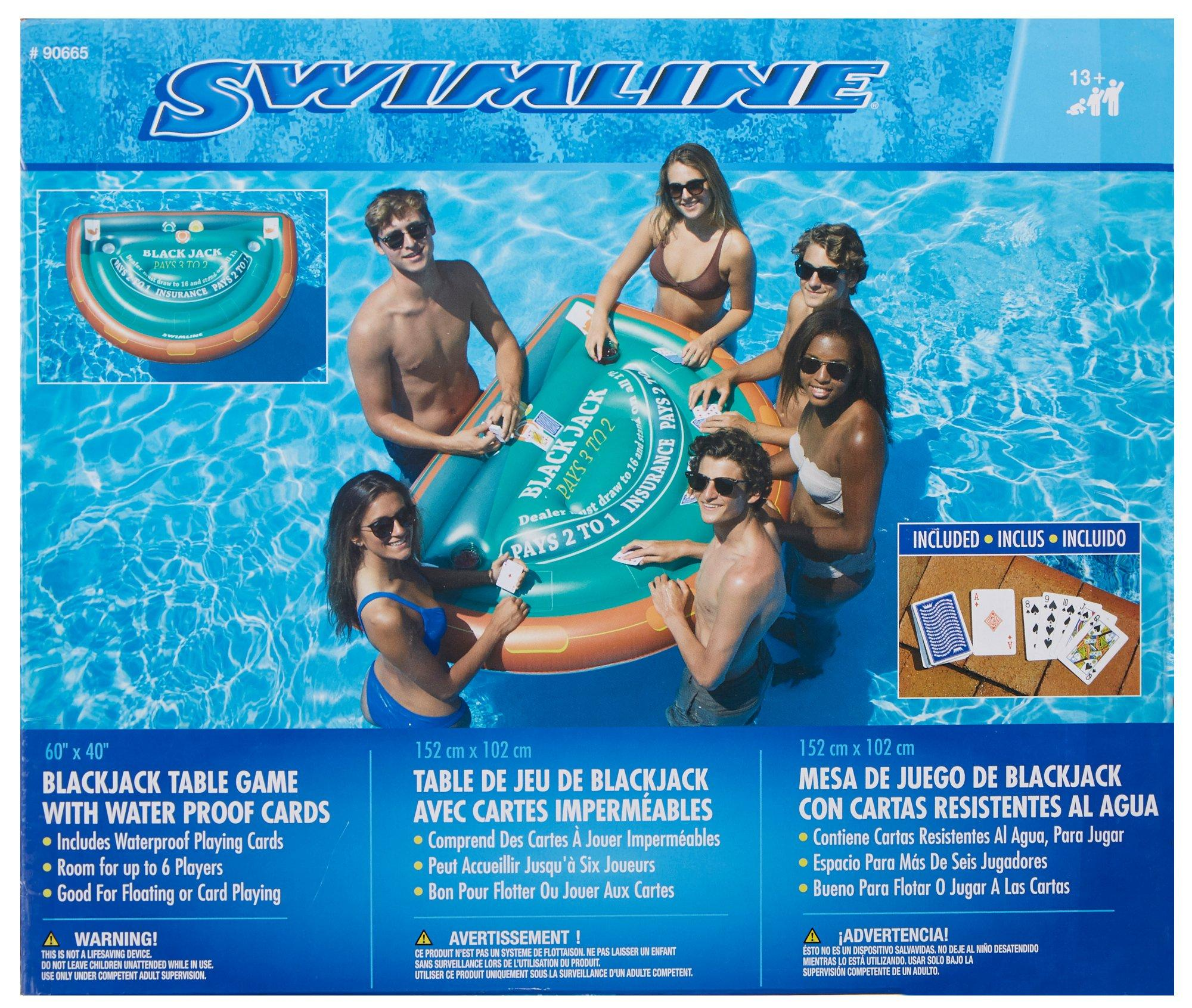 Blackjack Mesa Details About Swimline Blackjack Table Game With Water Proof Cards One Size Green Brown