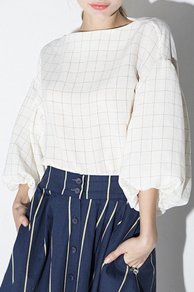 Industrial Vanity Light White Boat Neck Balloon Sleeve Plaid Loose Blouse