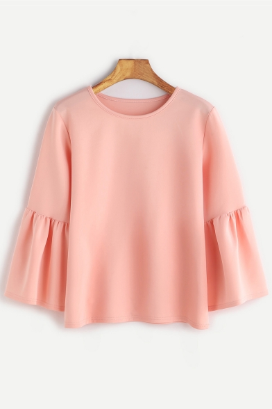 Simple Elegant Round Neck Long Ruffle Sleeves Pullover Plain Blouse