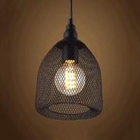 Vintage Black Industrial Rustic Metal Mesh LED Pendant ...