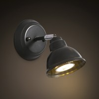 Black Finished 1 Light Spotlight LED Wall Sconce ...