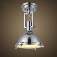 Chrome 1 Light LED Semi Flush Ceiling Light with Glass ...
