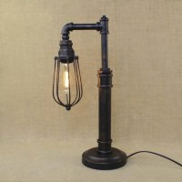 Vintage 1 Light Industrial Style Pipe Table Lamp with