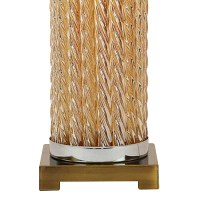 Cylinder Glass Column Table Lamp with Trapezoid Fabric