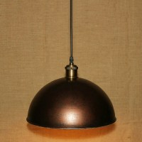 Industrial Pendant Light Fixture with Rust Dome Shade ...