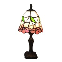 Tiffany Style Mini Table Lamp Featuring Flower Patterned