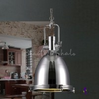 Industrial Style 1 Light Large Pendant in Polished Nickel ...