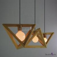 Wooden Triangle Brilliant Design Large Pendant Light for ...