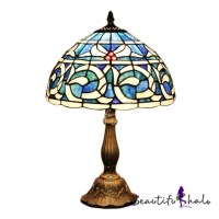 Blue Abstract Pattern Traditional 1-light Tiffany Table ...