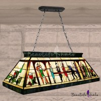 Fancy Hand-made Stained Glass Tiffany Four-light Pool ...