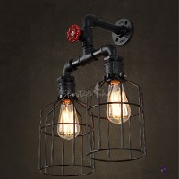 Vintage Black Iron Cage 2 Lights LED Wall Sconce with Red ...