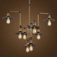 Industrial Style 8 Light Large LED Pendant Chandelier ...