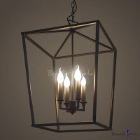 Matte Black 4 Light Square Open Cage LED Pendant ...