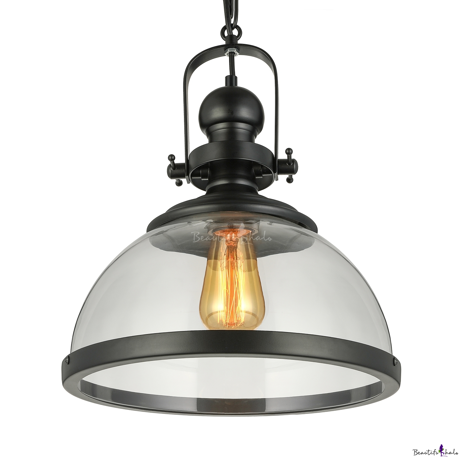 Glass Lamp Bowl Loft Style Bowl Hanging Lamp With Glass Shade Single Head Ceiling Pendant Light In Black Finish