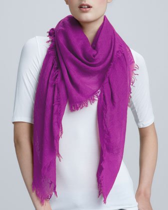 image of warm purple cashmere scarf