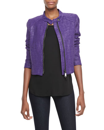 image of metallic jacket in radiant orchid
