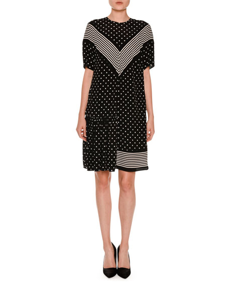Stella McCartney Short-Sleeve Chevron-Striped Polka-Dot Dress, Black - stripes with polka dots