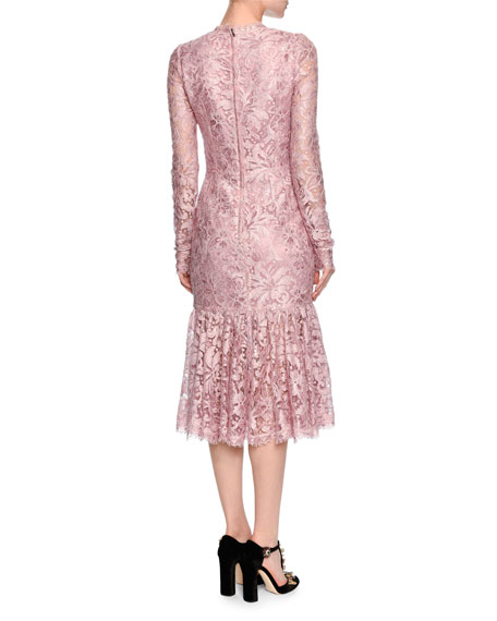 Joie Baby Website Dolce Gabbana Long Sleeve Lace Flounce Hem Dress Light Pink