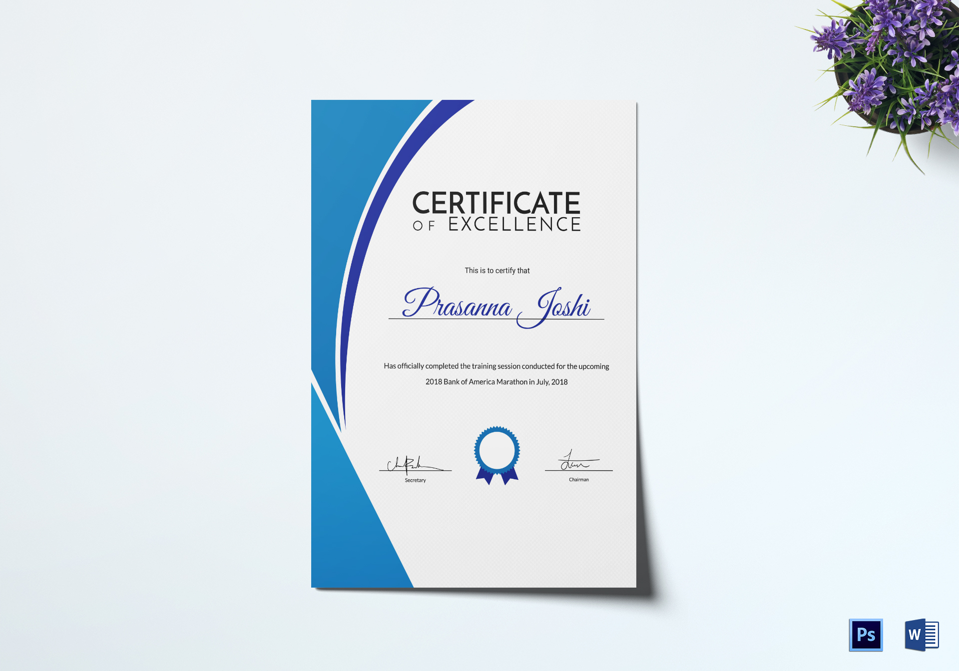 Marathon Training Certificate Design Template In Psd Word
