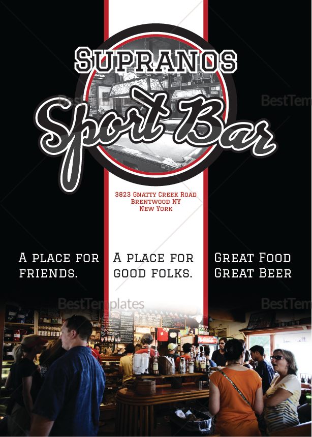 Sports Bar Menu Design Template in PSD, Word, Publisher, Illustrator