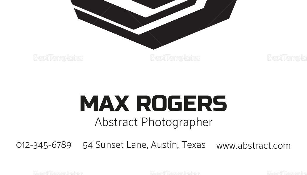 Abstract Photographer Business Card Template in PSD, Word, Publisher