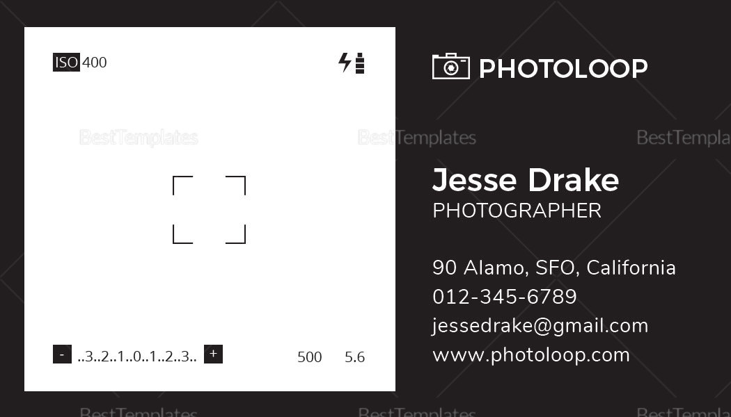 Plastic Photographer Business Card Template in PSD, Word, Publisher