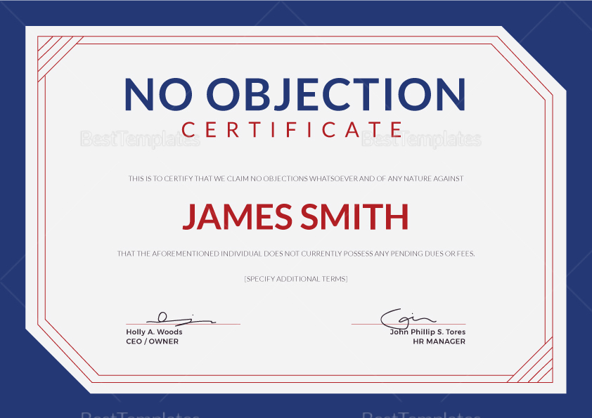 Simple No Objection Certificate Design Template in PSD, Word