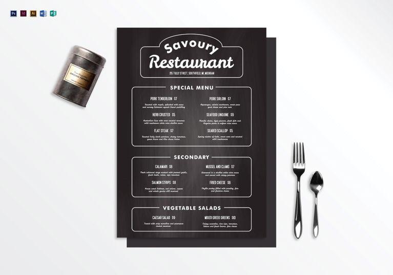 20+ InDesign Menu Designs \ Templates - PSD, AI, InDesigns, PDF - sample chalkboard menu template