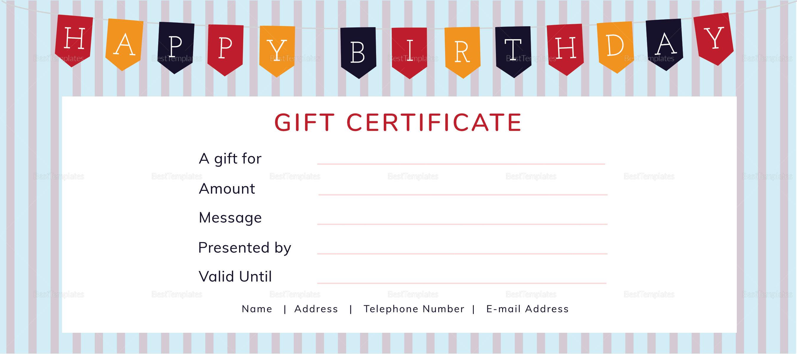 Birthday Gift Certificate Template Ivoiregion