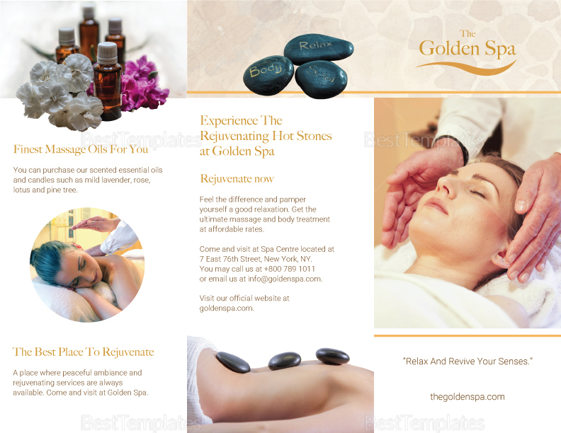 Tri-fold Spa Brochure Design Template in PSD, Word, Publisher