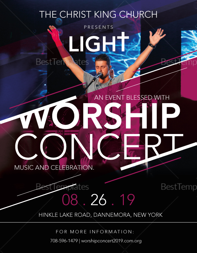 Church Worship Concert Flyer Design Template in PSD, Word, Publisher