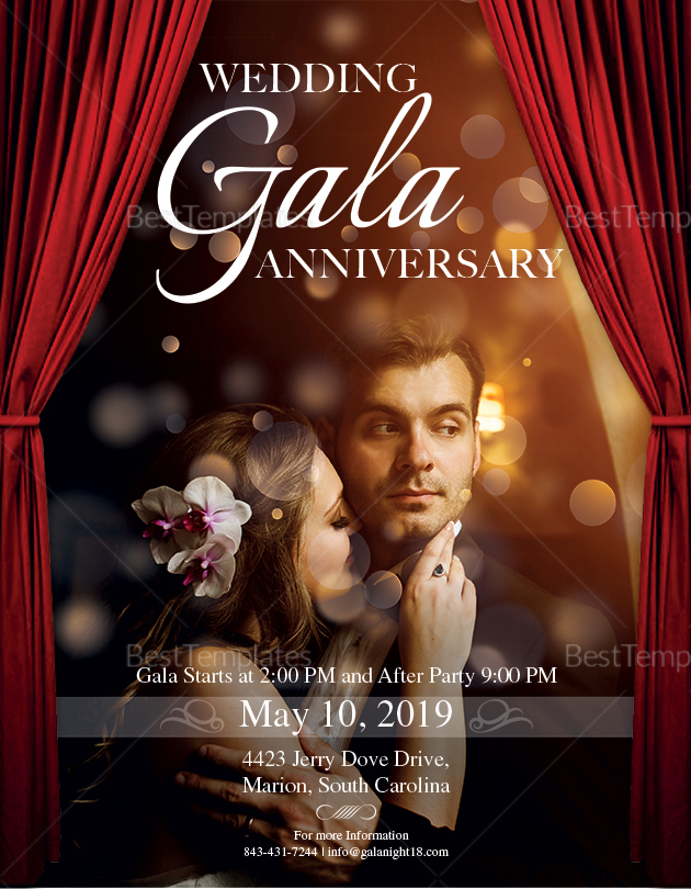 Wedding Gala Anniversary Flyer Design Template in PSD, Word