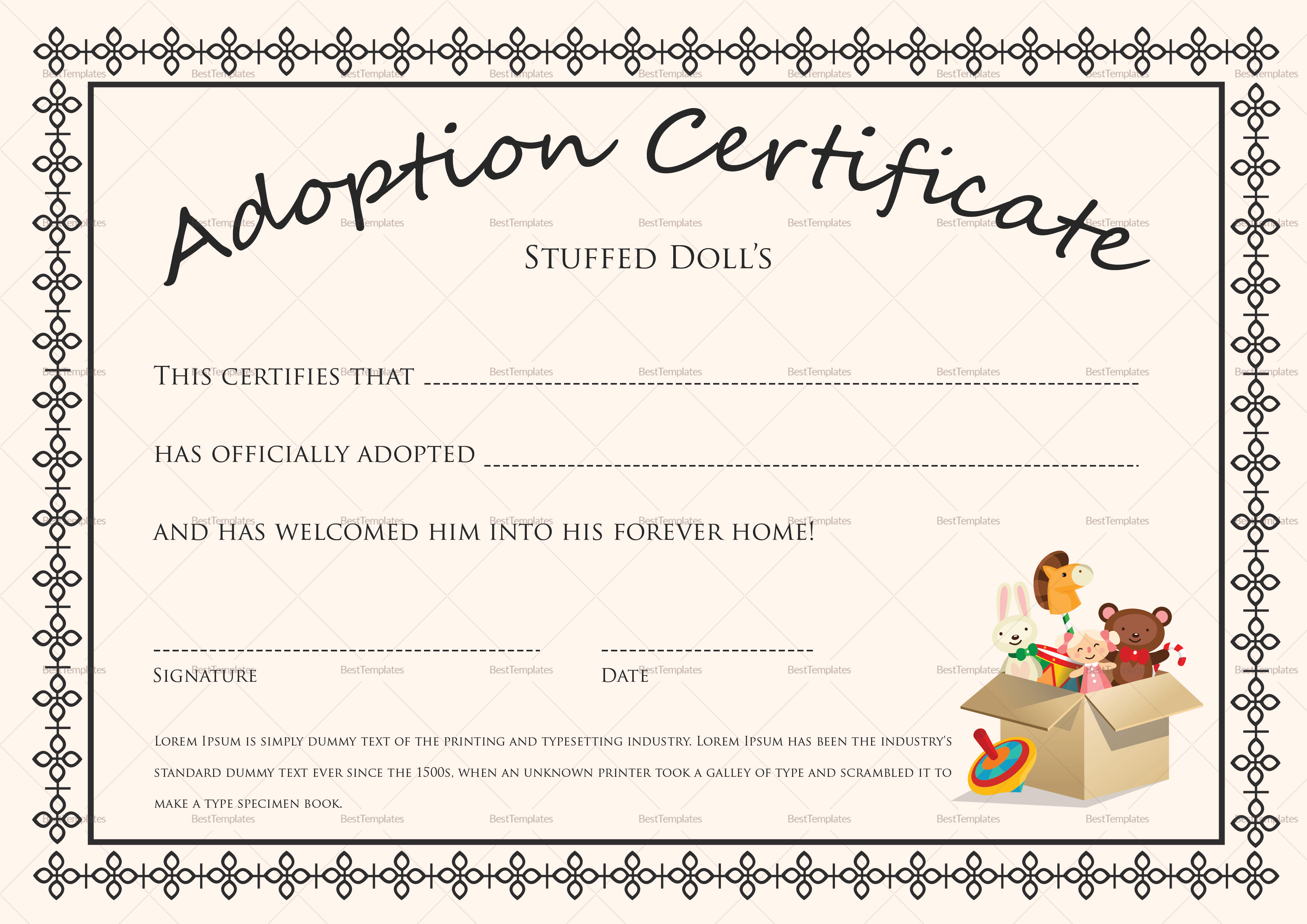certificate of adoption template