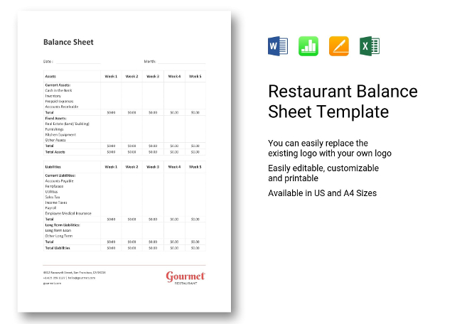 36+ Restaurant Accounting Templates  Bookkeeping, Statements - restaurant balance sheets
