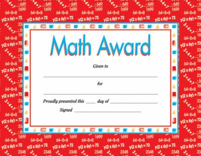 Math Award Certificate by Instructional Fair, School Specialty - printable math awards