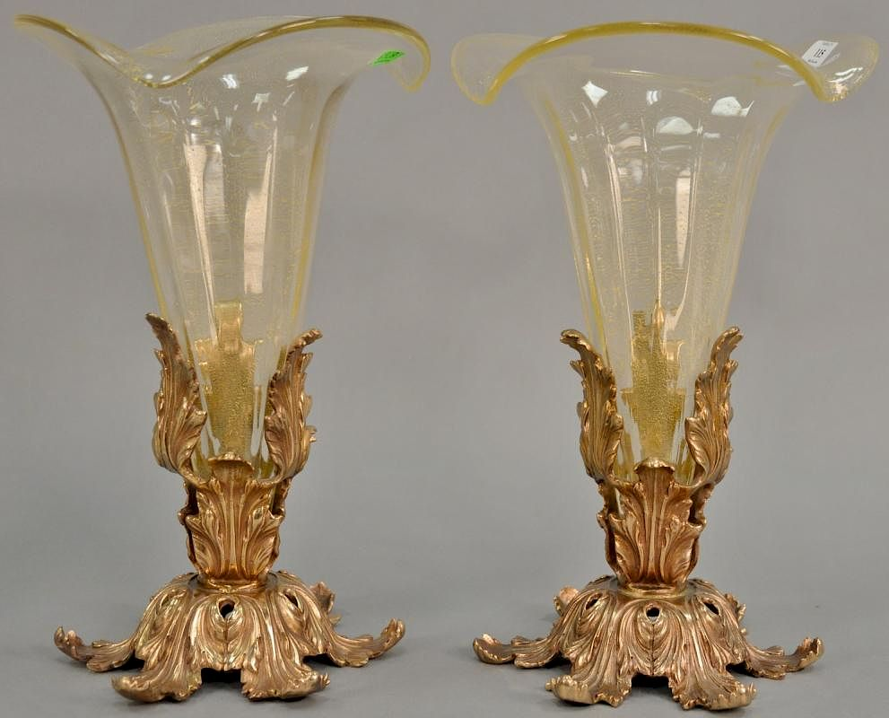 Lavorazione Arte Murano Made In Italy Pair Of Venturi Arte Murano Glass Vases In Bronze Bases Marked
