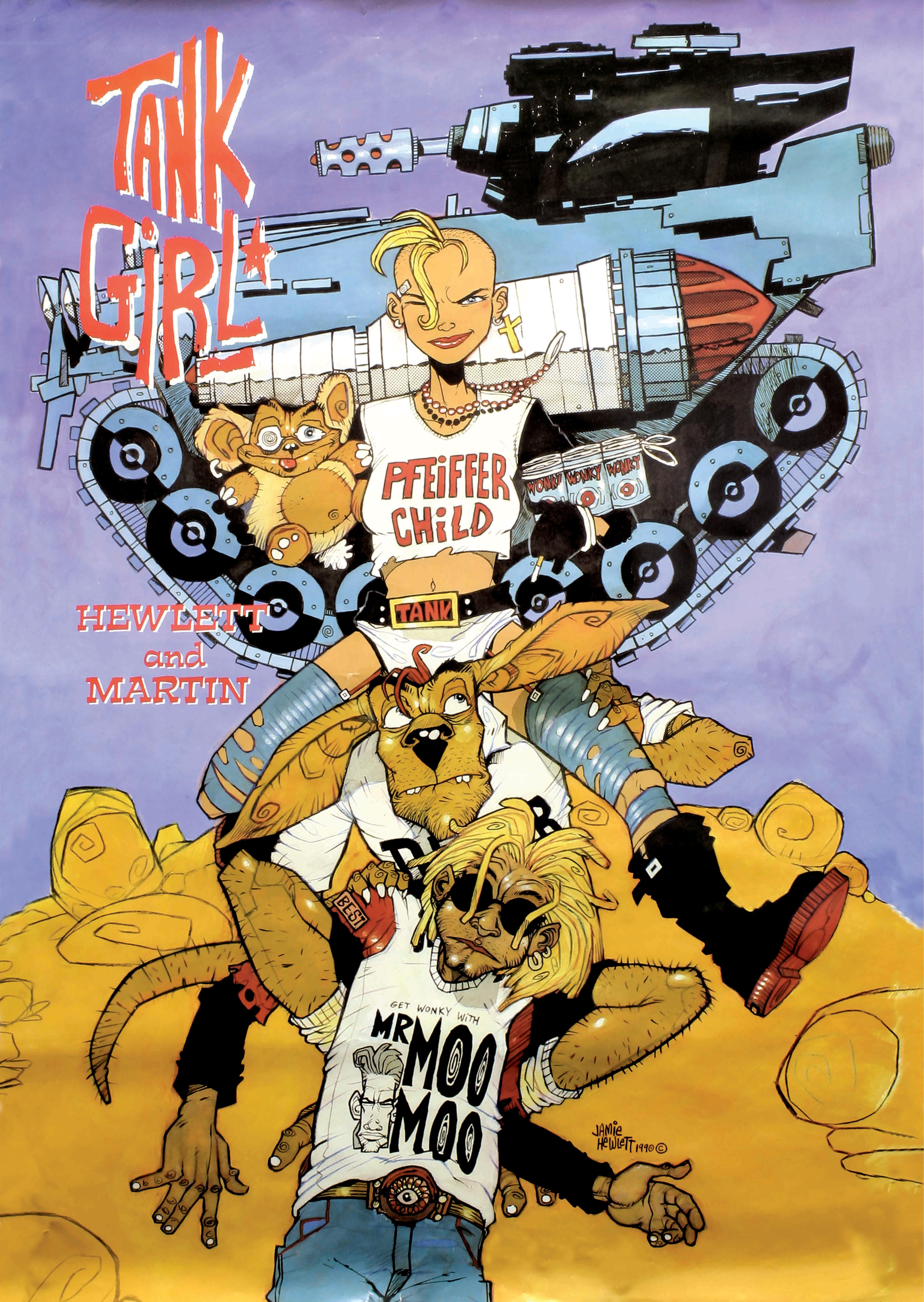 Tank Girl And Booga Wallpaper Tank Girl 1990 Penguin Books Poster By Jamie Hewlett