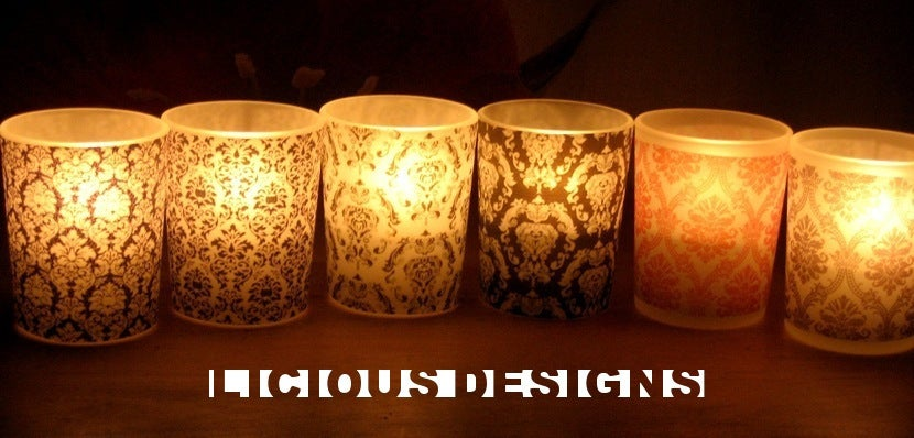Licious Designs 3 Vellum Votive Candle Holders Damask