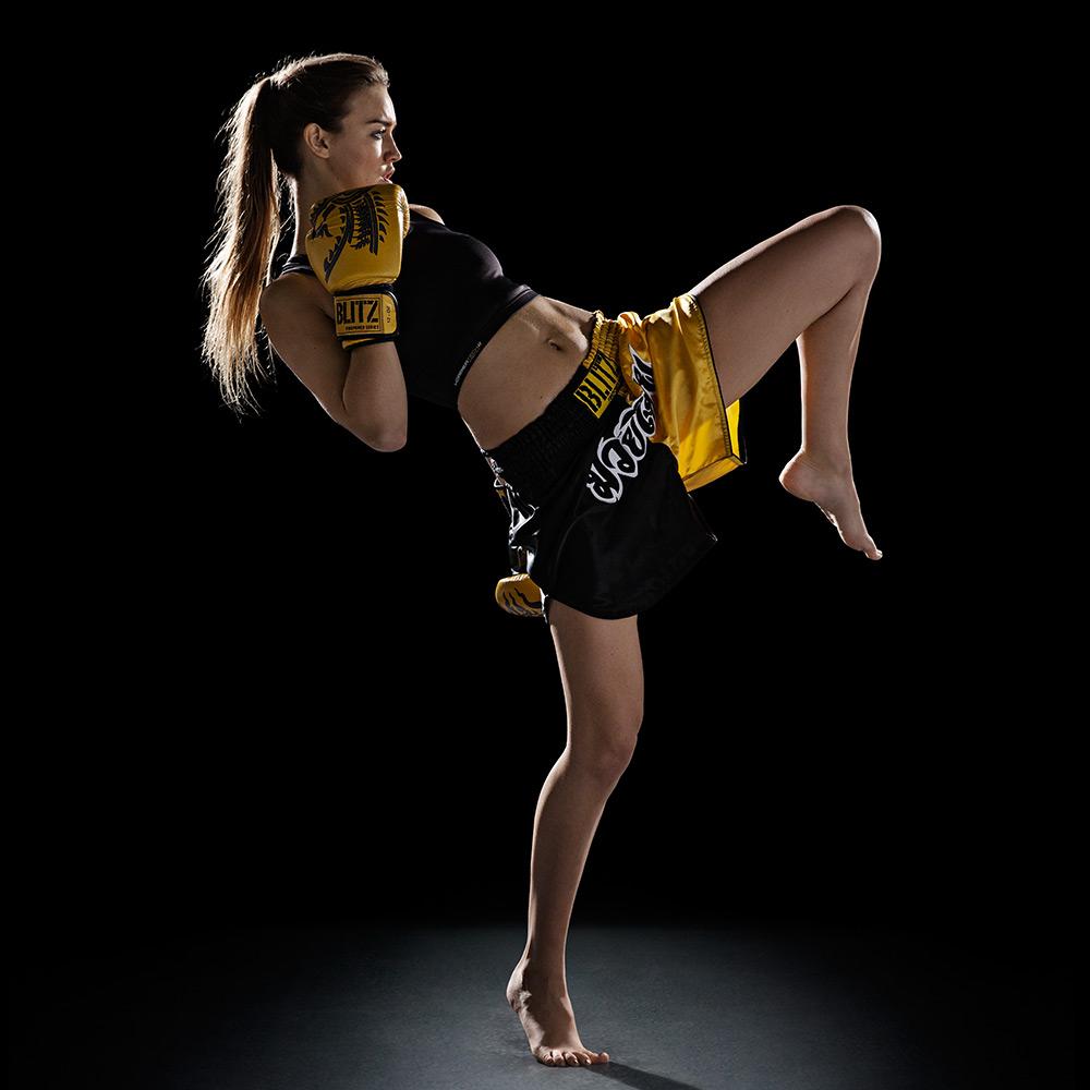 Gym 3d Wallpaper Blitz Kids Muay Thai Shorts Yellow Black