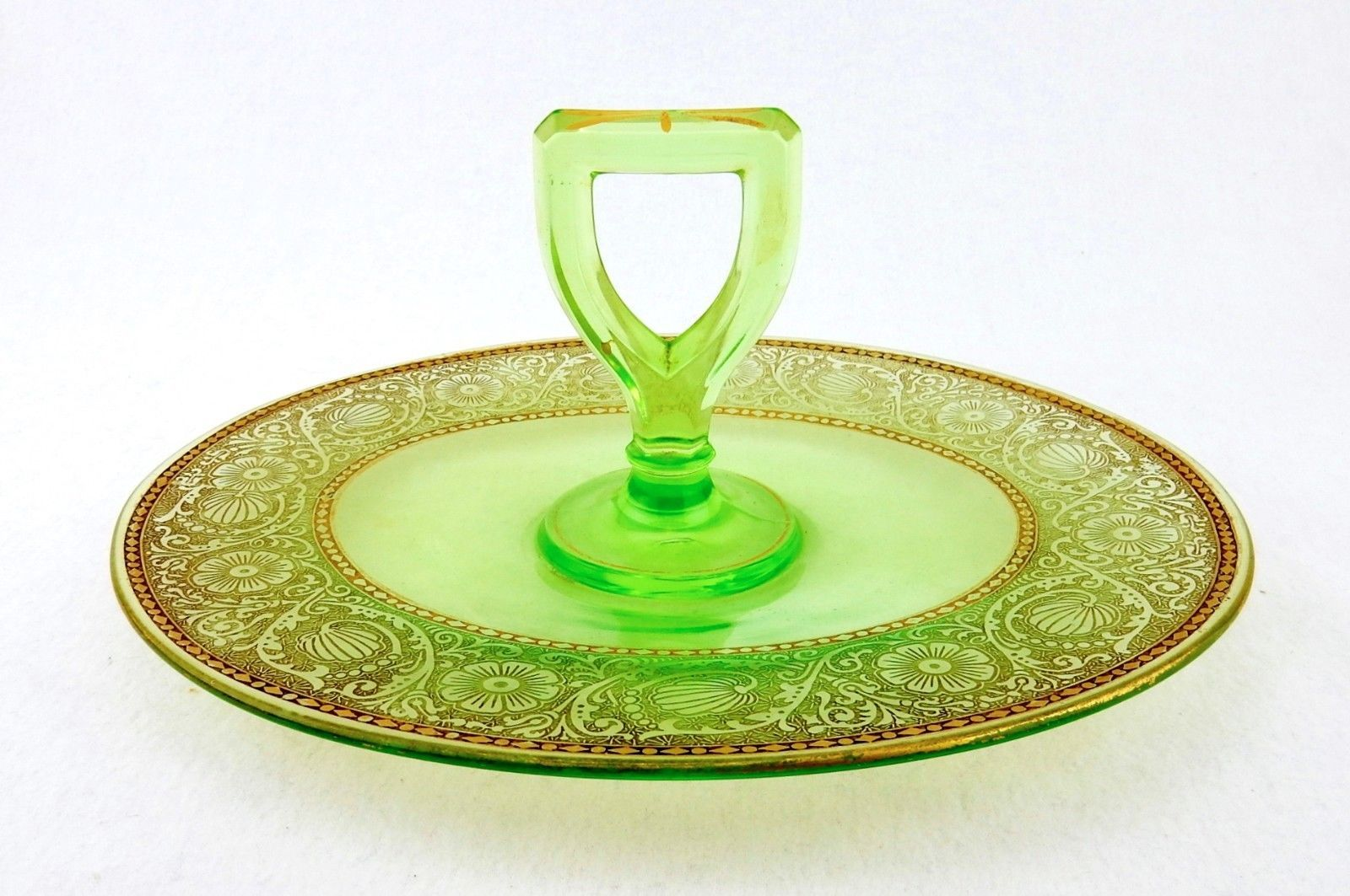 Couchtisch Sandeiche Oval Oval Sandwich Tray With Handle Green Gilded Depression